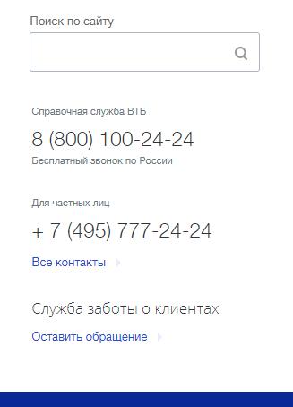 Контакты ВТБ 24